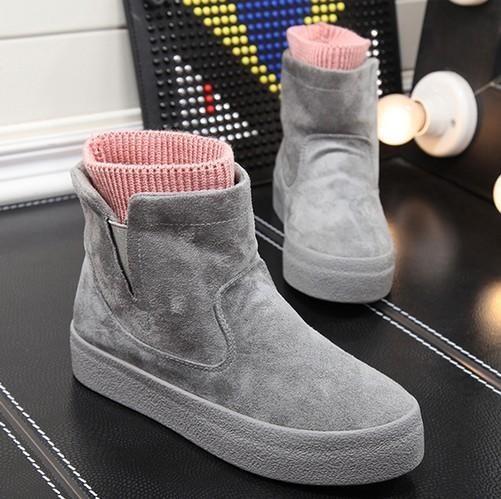 Envío Libre Rebaño Moda de Las Mujeres Botas de Nieve de Alta Plataforma Slip-on Invierno Zapatos Casuales Botines Calientes Tamaño 35-39
