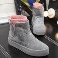 O Envio gratuito de Moda Rebanho Botas De Neve das Mulheres de Alta Plataforma Slip-on Sapatos Casuais Inverno Quente Ankle Boots Tamanho 35-39