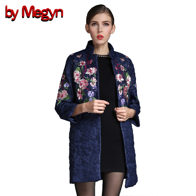 [by Megyn] 2017 Winter Spring Women Long Sleeve Jacket Warm Coats Embroidery Floral Print Outwears Wholesale D068