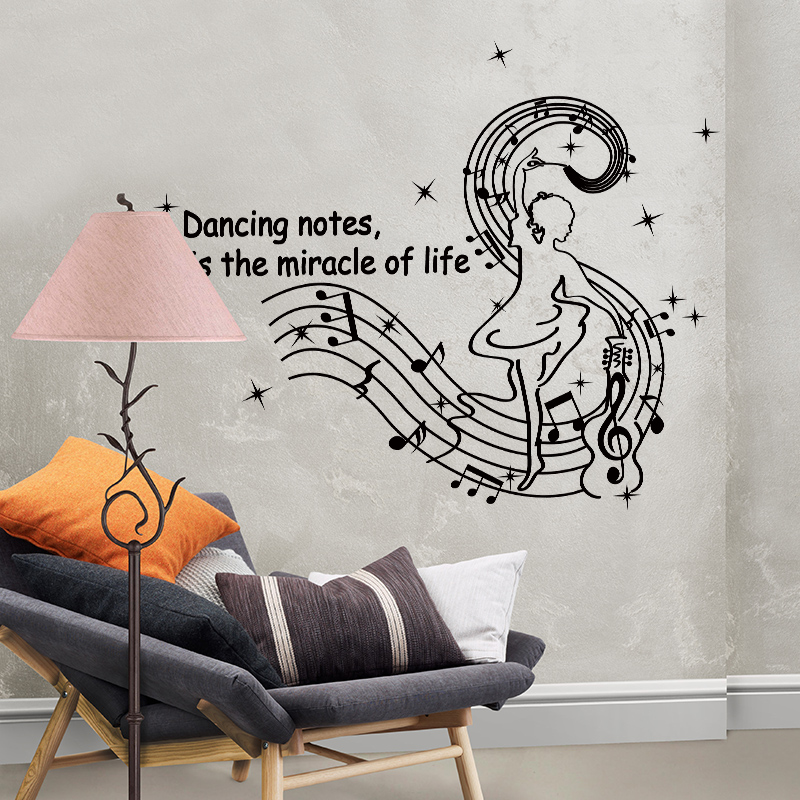 [SHIJUEHEZI] Brandishing Music Notes Wall Sticker Vinyl DIY Wall Art for Kids Room Music Classroom Decoration Muurstickers