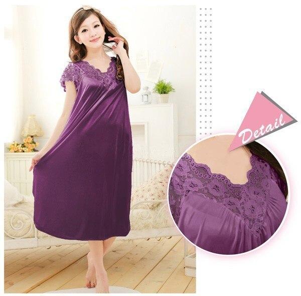 Free shipping women lace sexy nightdress girls plus size bathrobe Large size Sleepwear nightgown Y02-3 2