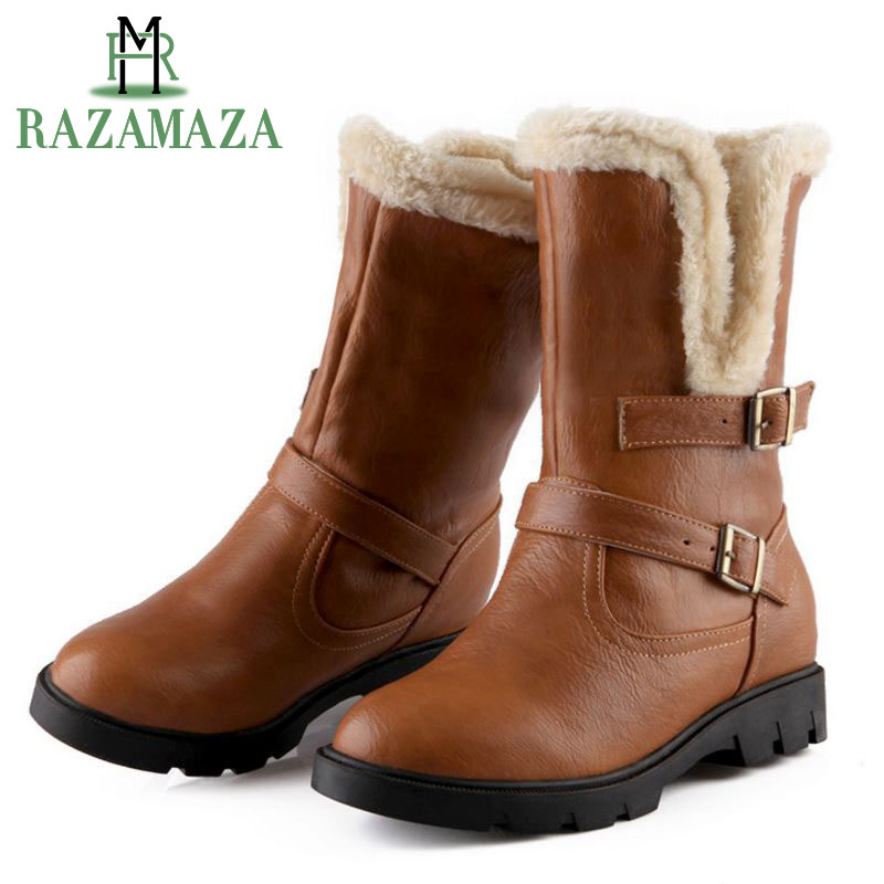 RAZAMAZA Size 34-43 Women High Heel Mid Calf Boots Two Method Winter Warm Snow Botas Half Short Gladiator Boot Footwear Shoes women high heel half short boots thickened fur warm winter plush mid calf snow boot woman botas footwear shoes p21994 size 34 39