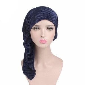 Image 5 - Muzułmanie kobiety wzburzyć Turban szalik bawełna Chemo czapki chemioterapia Bonnet czapki chustka na głowę chusta na głowę rak utrata włosów