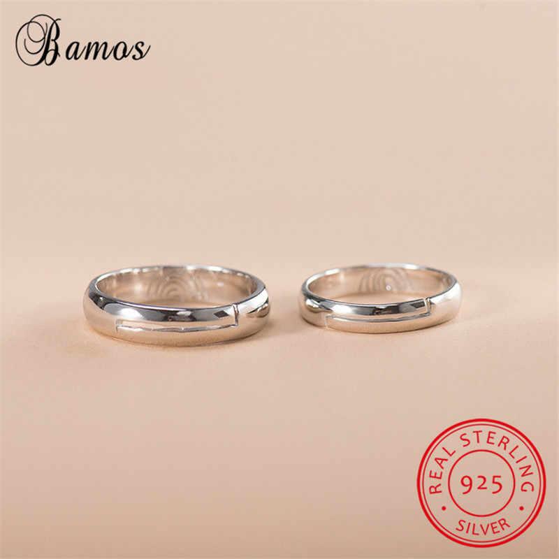 יוקרה 1 pc Bamos גברים נשים אופנה טבעת אצבע אהבת הבטחת טבעת כסף 925 פשוט טבעות אירוסין לזוג