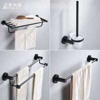Towel Rack 304 Stainless Steel Bathroom Towel Rack Hardware Toliet Brush Holder Brushed Robe Hook Bathroom Accessories Set Black