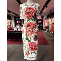 Svoriu High End Пользовательские осеннее платье Для женщин роскошные бриллианты и пуговицы Цветочный принт элегантный взлетно посадочной полосы