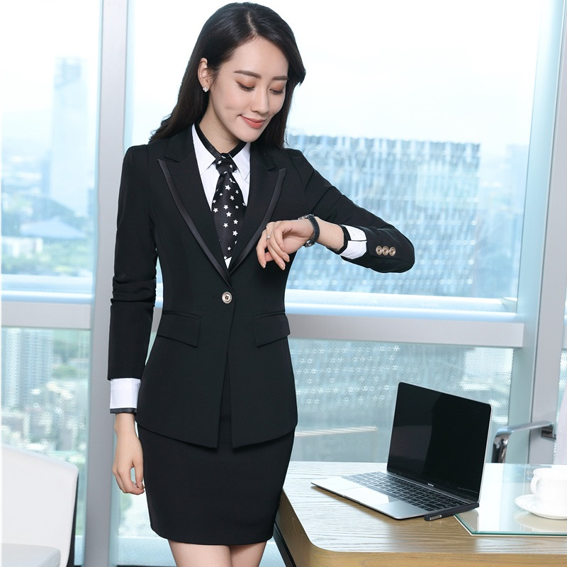 Jackets Autumn Uniform Winter black Outfits Business Suits Blue Women For Skirt Styles Piece And Blue Blouses With Dark Blazers 3 1OxBqwXO