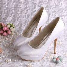 (20สี) Wedopusออกแบบที่เรียบง่ายซาตินรองเท้าสีขาวส้นสูงPlatfromรองเท้าเจ้าสาวสำหรับผู้หญิง