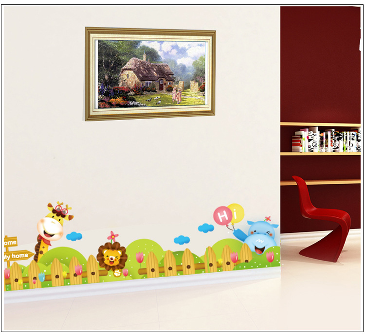 Cartoon zoo wall decal sticker kids room nursery wall for Cheap wall mural posters