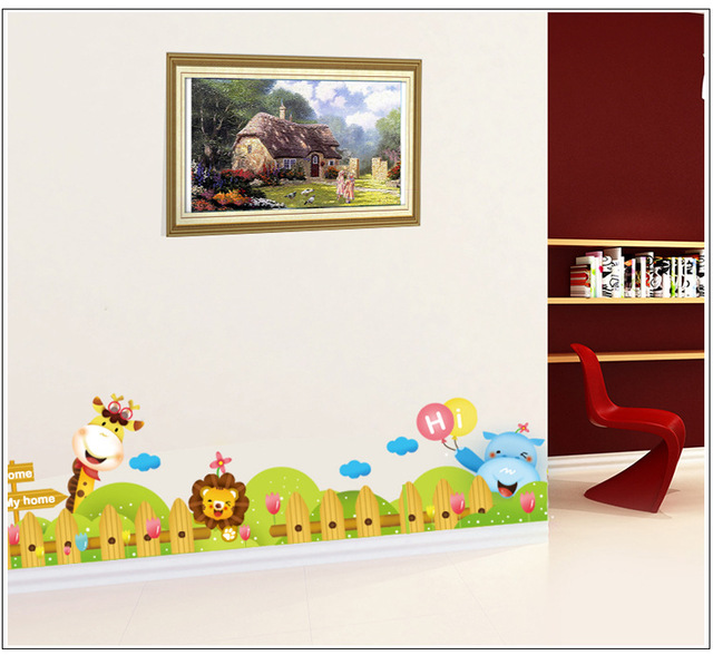 cartoon zoo wall decal sticker kids room nursery wall border art rh aliexpress com Borders for Rooms for Teenagers Wood Borders for Room
