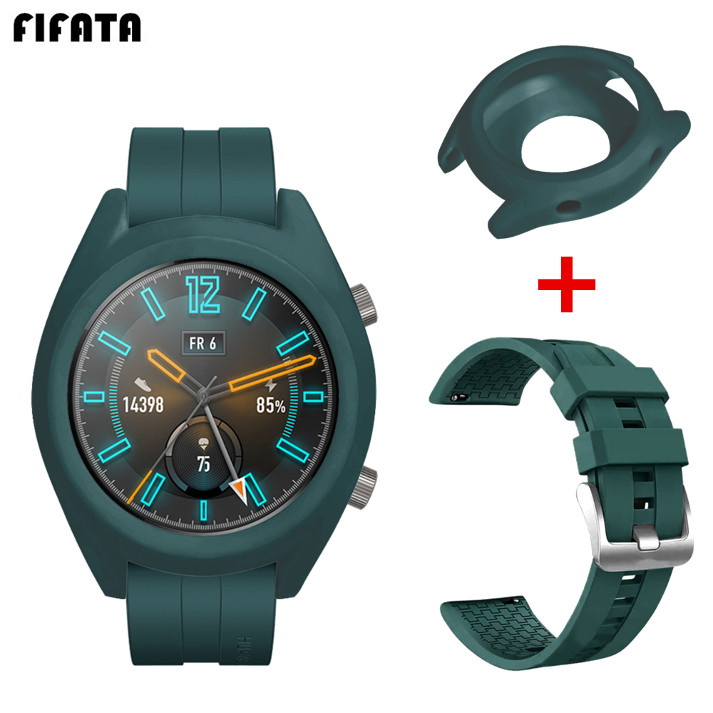 Strap For Huawei Watch GT Active / Elegant Smart Watch Band For Huawei GT Accessories TPU Case Cover + Silicone Sports Bracelet