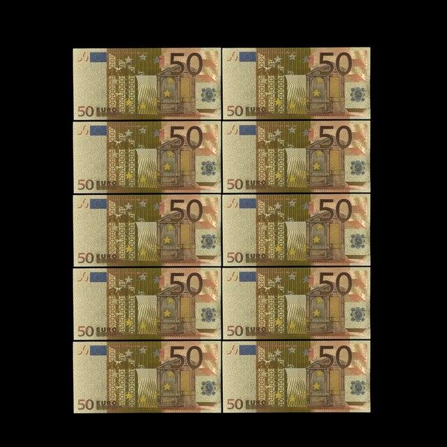 Billetes en euros coloridos 10 unids/lote 50 euros billete de papel de oro para colección y regalos dinero de la UE artesanía exquisita