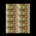 Яркие евро банкноты 10 шт./лот 50 евро банкноты из золотой фольги для коллекции и подарка деньги ЕС изысканное ремесло