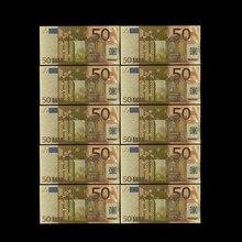 Colorido Das Notas de Euro 10 pçs/lote 50 Folha de Ouro de Notas de EUROS para a Recolha e Presentes com o Dinheiro DA UE Ofício Requintado