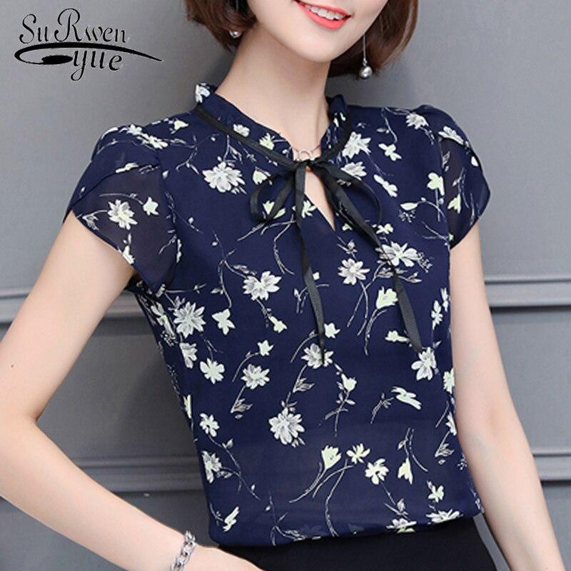 new 2019 fashion Print chiffon Women Blouse shirt sweet bow v collar Women's Clothing plus size summer Women Tops blusas 0010 30