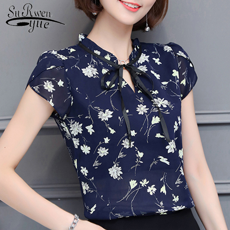new 2019 fashion Print chiffon Women   Blouse     shirt   sweet bow v collar Women's Clothing plus size summer Women Tops blusas 0010 30