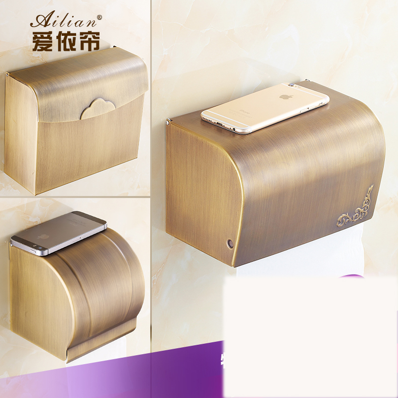 Solid thickening and full copper European antique sealed waterproof toilet paper box toilet paper towel box paper towel rack hole digging toilet paper basket pumping paper box space aluminum towel rack wall tissue box