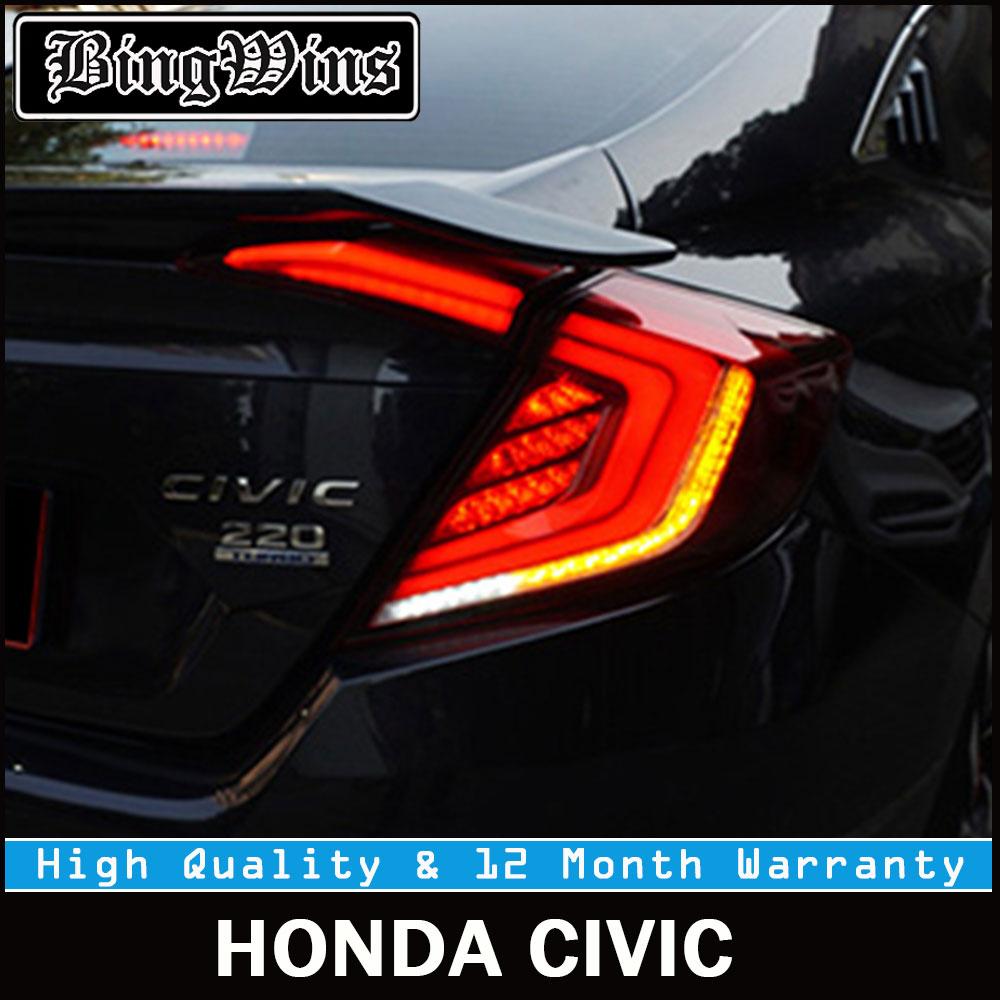 Car Back Tail lights For Honda Civic 10th Sedan 2016 2017 2018 taillights Rear Lamp LED DRL Turning+Reversing+Fog+Brake light