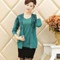 Женщины свитера пуловеры 5 цветов мода мать одежда свободный Большой размер 3XL искусственного двух частей кашемировый свитер женщин PK0575