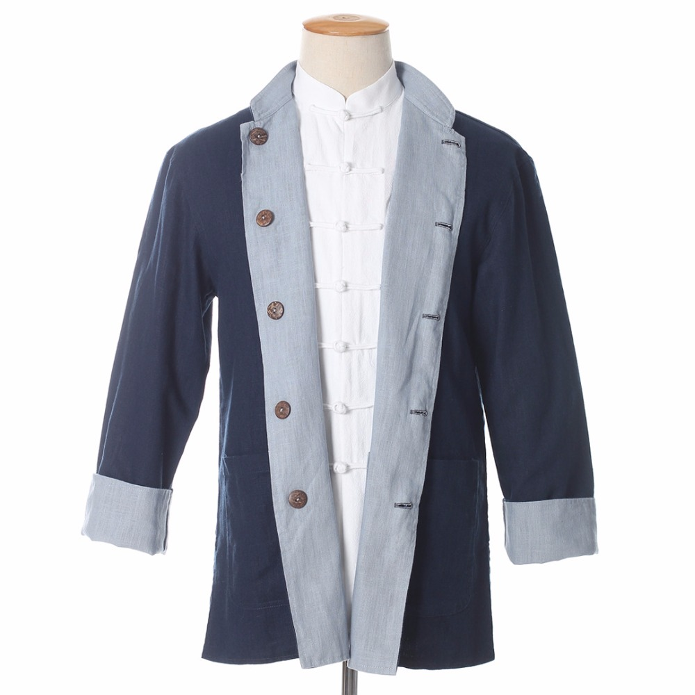 2017 Summer New Yellow Blue Men Two Side Jacket Chinese Tai Chi Style Cotton Linen Single Breasted Coat Casual Tops M-3XL PM010