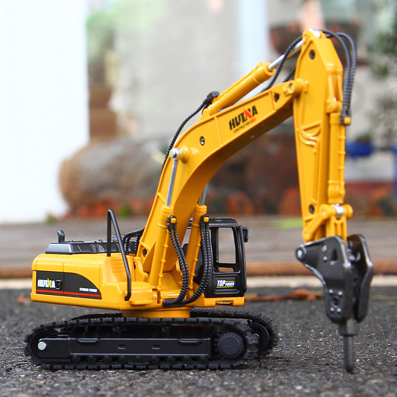 1:50 Excavator Track Type Breaker Hammer Model Vehicle For Boys Cool Gift Simulation Escavadeira Toys High Quality Metal Diecast