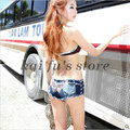Free shipping 2015 New Fashion Summer Low Waist Butterfly Sexy Tight Hipster Jeans Shorts Female Nightclub Denim Short For Women