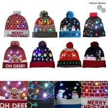 5fdc57bd91d 2019 LED Christmas Beanie Ugly Christmas Sweater Christmas Tree Beanie Light  Up Knitted Hat for Children