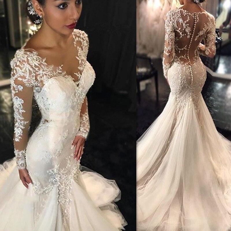 24f63bf4b8a Винтажные женские платья кружевные свадебные платья 2019 халат де mariée  чистая иллюзия свадебное с длинными рукавами