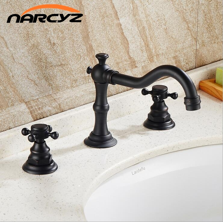 Black bronze three hole basin three piece set of copper European hot and cold water faucet
