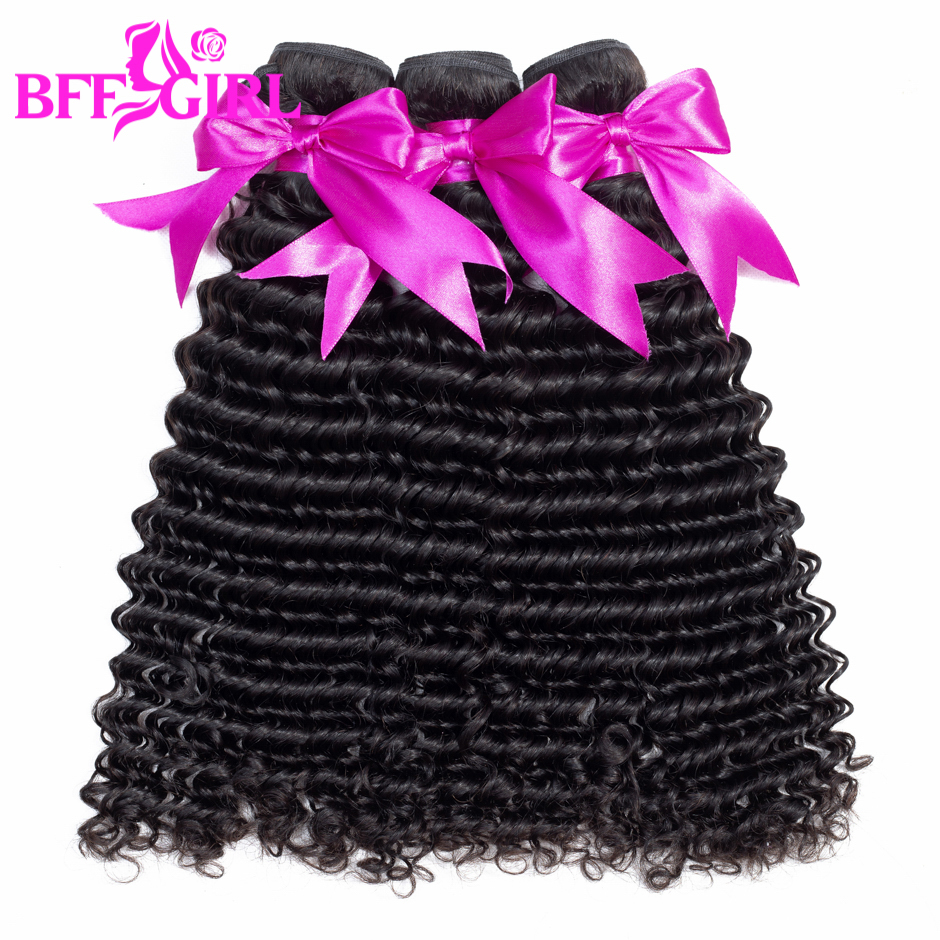 BFF GIRL Peruvian Deep Wave Hair 3 Bundles 100% Human Hair Bundles Natural Black Color 10-26inch Non Remy Hair Weaves Extension