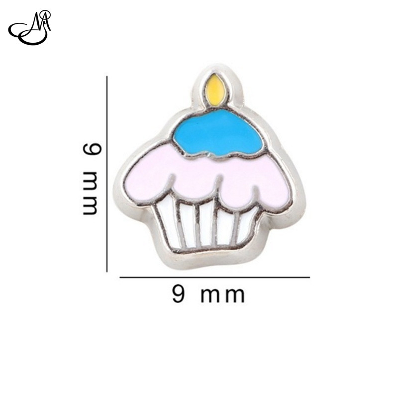 20pcs/lot Silver Alloy Ice-cream Cupcake floating charms for living glass floating memory locket MFC2358