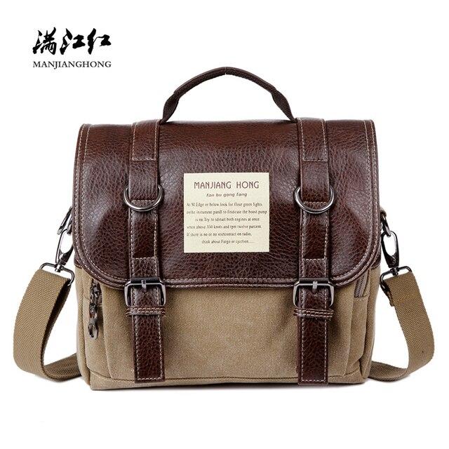 Crazy Horse Leather Men Messenger Bags Vintage Shoulder Bag Men Canvas Casual Crossbody Bags For Men Male Handbag Satchel 1280
