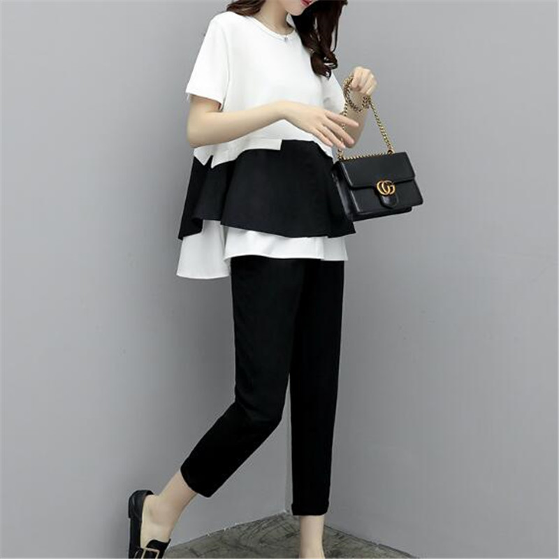 Vestito E Di Top Delle Due black Corea Della Tops Dimensioni 5xl Pants Nuove Grandi White Pantaloni Donne Pezzi Modo A Estate Qualità Femminile Alta Insieme Costume EqqfwrOxn7