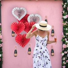 6pcs Red Heart Shape Paper Rosette Fans Valentines Day Wedding Decoration Anniversary Bridal Shower Hanging