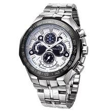 HALEI 2016 Nuevo Reloj de Los Hombres Reloj de Acero Inoxidable Completa Cuatro Diales Redondos Luminoso Skeleton Automático de Los Hombres Reloj Militar Reloj