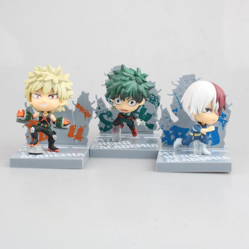 NEW 10cm My Hero Academia Todoroki Shoto bakugo katsuki Midoriya Izuku Nendoroid Mini Action figure toys doll with box