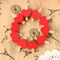 NEW 10Pcs Mini Hearts Wooden Pegs Photo Clips Craft Wedding Party Decor Decoration