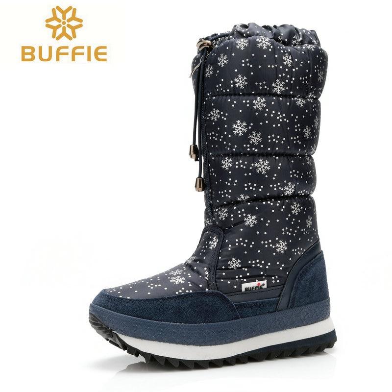a3e4e60a17605 Mujeres rodilla botas 2016 botas calientes de tamaño grande con la piel  invierno venta caliente mujer botas marca botas de nieve caliente invierno  de la ...
