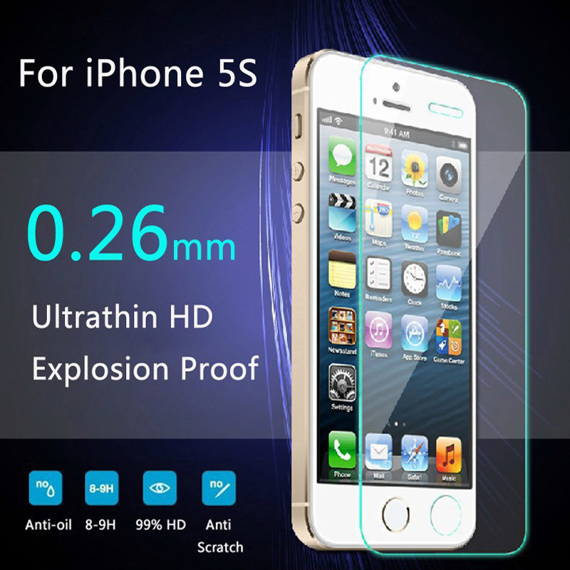 For iPhone 5s glass 0.26mm on the for iphone 5s 6s tempered glass screen protection film for iphone 5/5s glass screen protector