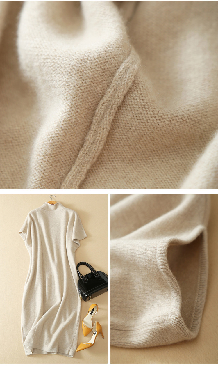 Sweater Dress Cashmere 18 Fashion Short Sleeves 100% Pure Cashmere Elegant O-neck Knitwear Long Sweter Dress Women For Winter 7