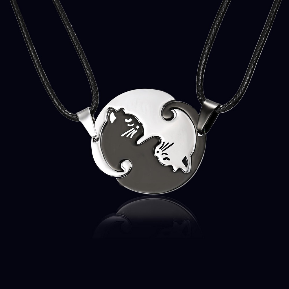 Charmelry Rinhoo Couples Jewelry Necklaces Black white Couple Necklace Titanium Steel animal cat Pendants Necklace