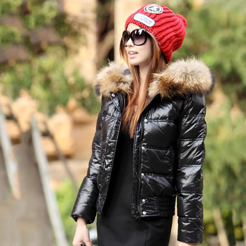 Winter Short Thick   Down     Coats   Women Hooded Jackets With Fur Collar Female Slim   Coats   Warm White Duck   Down   Outerwear Warm OL Lady