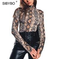 Sibybo Autumn Snake Pattern Print Bodysuit Women Romper 2017 Casual Lady Long Sleeve One Piece Jumpsuit