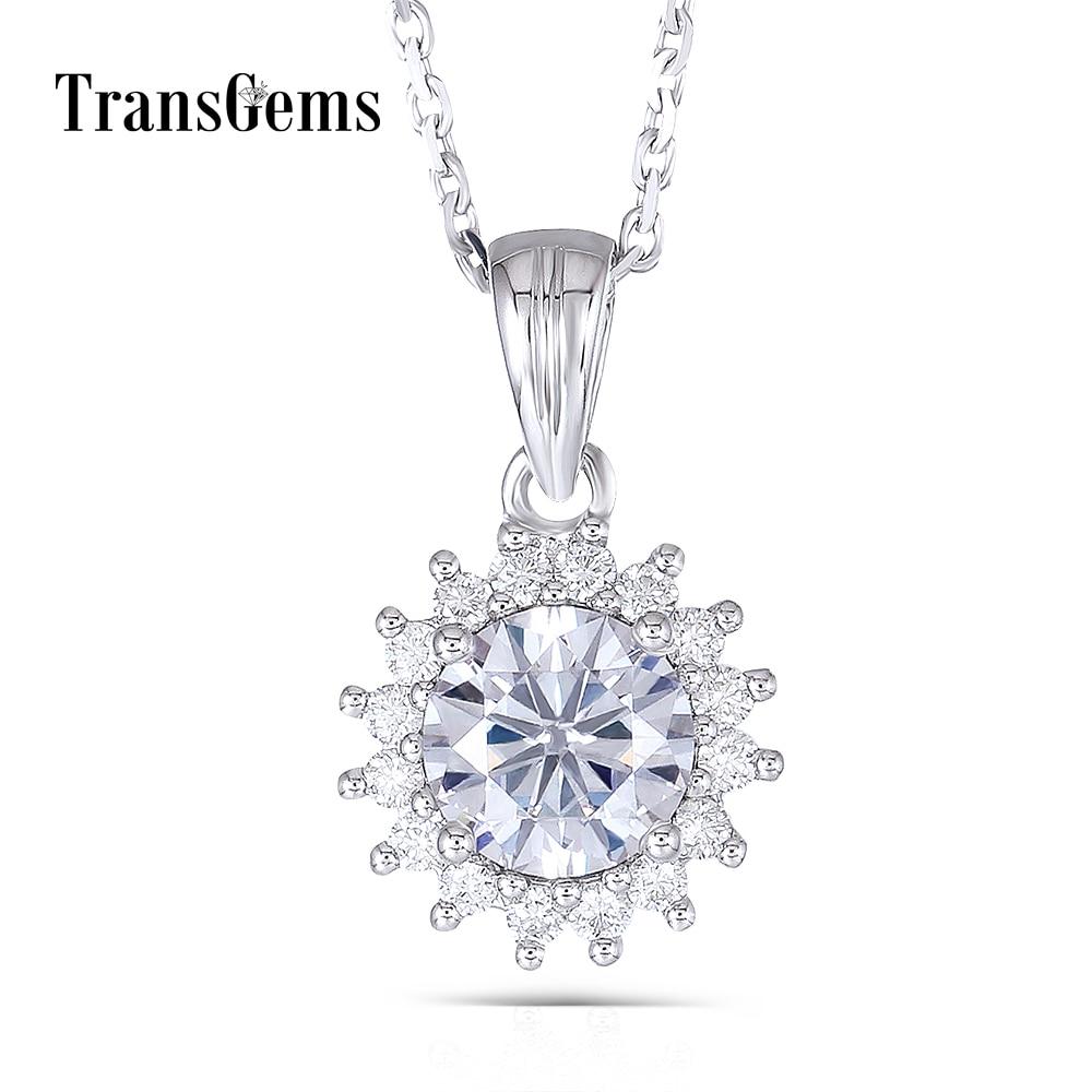 Transgems 14K White Gold 585 1 Carat 6.5MM F Color Grade Moissanite Diamond Sunflower Shaped Pendant Slide Necklace for Women