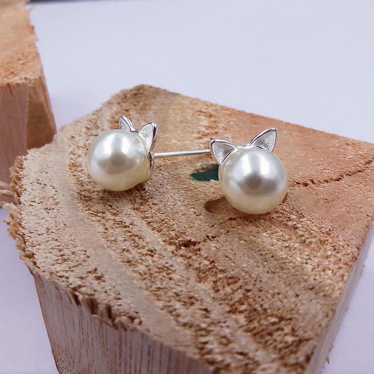 Cat Ears Pearl Earrings