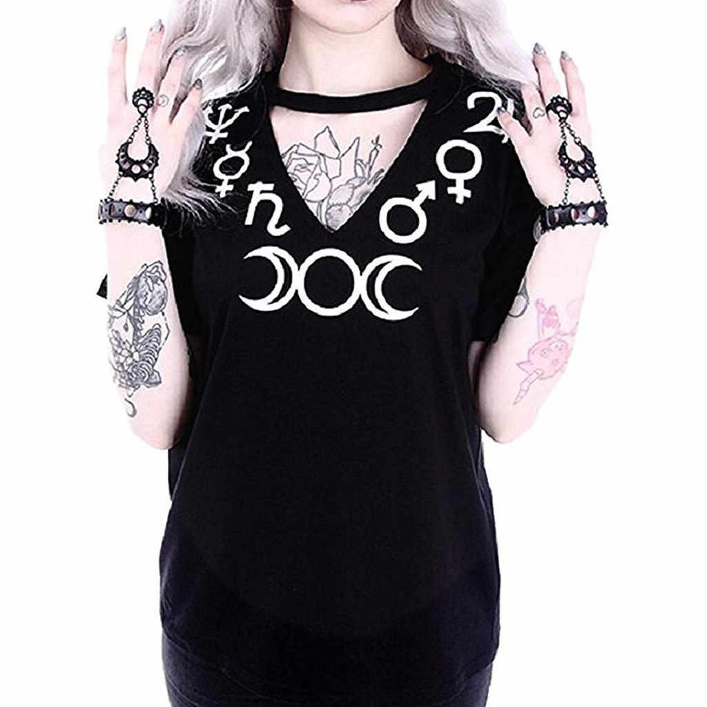 בתוספת גודל קיץ 2019 חולצה נשים ירח הדפסת גותי פאנק שחור סקסי V צוואר קולר העליון קצר שרוול חולצה camiseta Mujer