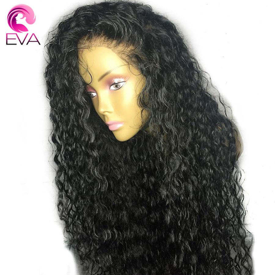Eva 13x6 avant de lacet perruques de cheveux humains pré plumé avec des cheveux de bébé extrémité complète brésilienne bouclés avant de lacet perruque pour les femmes noires Remy cheveux
