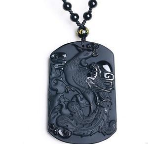 60*40*10 мм черный обсидиан ожерелье с Фениксом кулон король птицы нефрит кулон Нефритовое ювелирное изделие ювелирные изделия