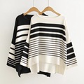 women autumn striped loosen casual pullover sweatersbig  2016fashionsweaters large women autumn casual plus size sweaters black