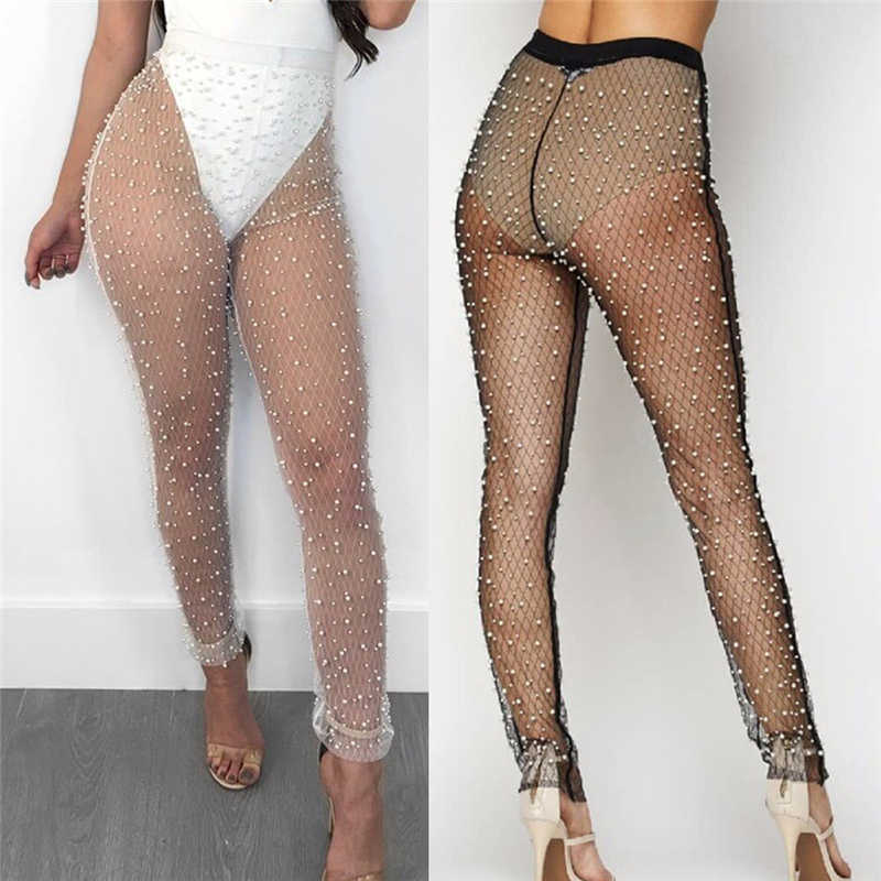 2099326b4588a Detail Feedback Questions about Sexy Women Beach Fishnet Pants Bikini Cover  Up Summer Pearl See Through Tight Trousers Swimsuit Transparent Pants Beach  ...